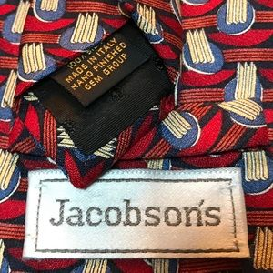 Jacobsons Accessories - Jacobson's Silk Tie Red Blue Gold